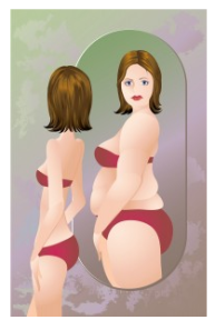 Figure 1. Patients suffering from AN have a distorted view of their own bodies many times thinking they are overweight when in fact they are dangerously underweight. Image from: http://theraphaelproject.com/blog/eating-disorders/